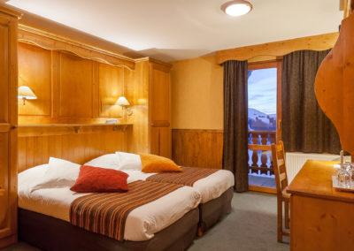 Les chambres twin de l'hôtel les balcons village de Belle Plagne